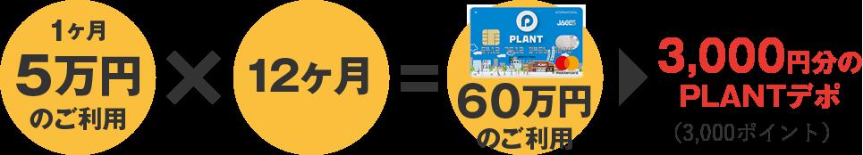 1カ月5万円のご利用×12ヶ月=60万円のご利用 3,000円分のPLANTデポ(3,000ポイント)